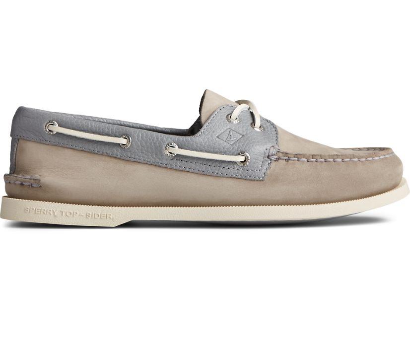 Authentic Original 2-Eye Tumbled Leather Nubuck Boat Shoe, Grey, dynamic