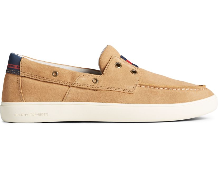 Outer Banks 2-Eye Suede Boat Shoe, Tan, dynamic