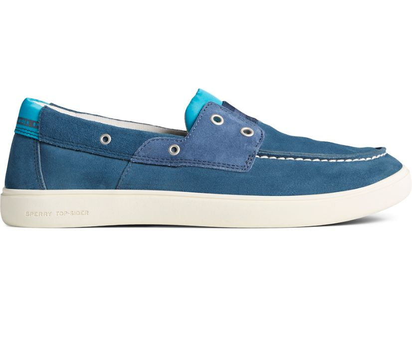 Outer Banks 2-Eye Suede Boat Shoe, Navy, dynamic
