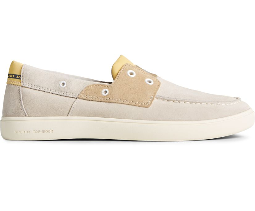 Outer Banks 2-Eye Suede Boat Shoe, Light Grey, dynamic