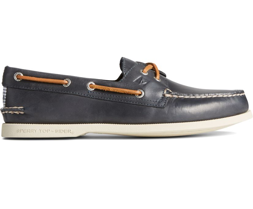 Authentic Original Cross Lace Washed Stripe Boat Shoe, Navy, dynamic