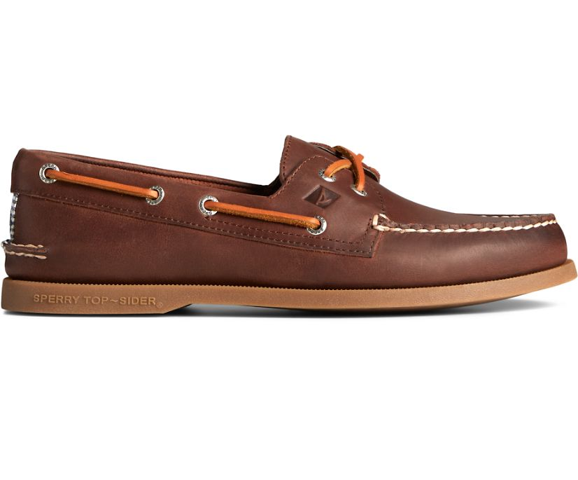 Authentic Original Cross Lace Washed Stripe Boat Shoe, Brown, dynamic