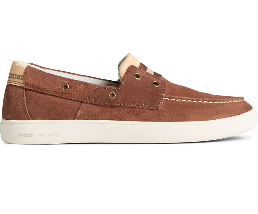 Outer Banks 2-Eye Suede Boat Shoe, Brown, dynamic