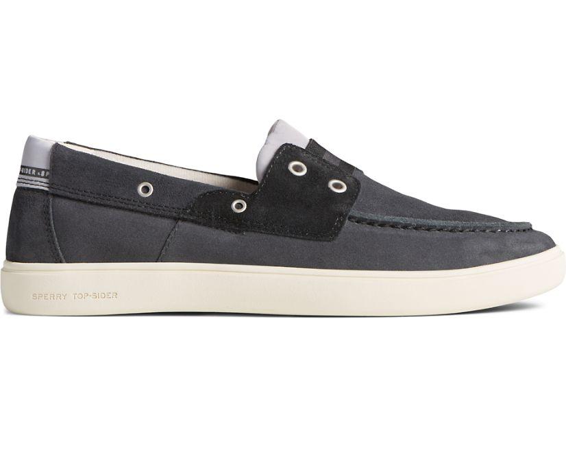 Outer Banks 2-Eye Suede Boat Shoe, Dark Grey, dynamic