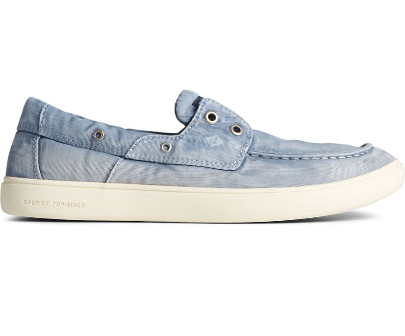 Outer Banks 2-Eye Twill Boat Shoe, Blue, dynamic