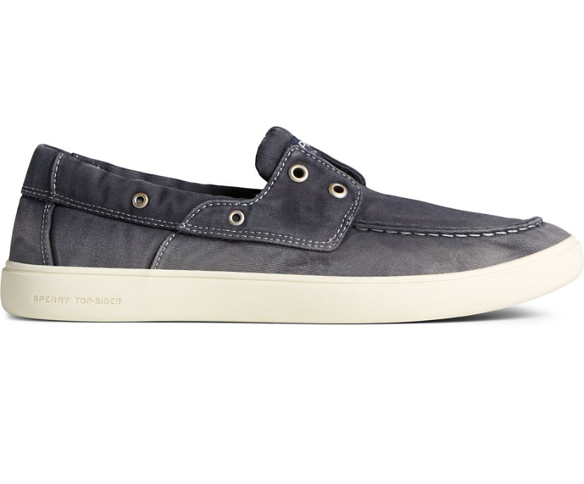 Outer Banks 2-Eye Twill Boat Shoe, Black, dynamic