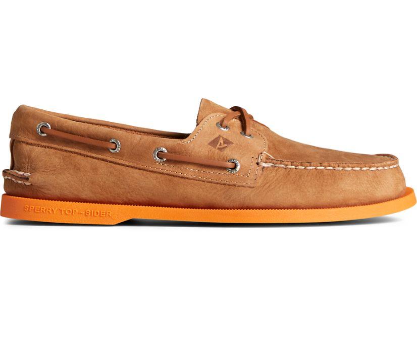 Authentic Original 2-Eye Color Sole Boat Shoe, Tan/Orange, dynamic