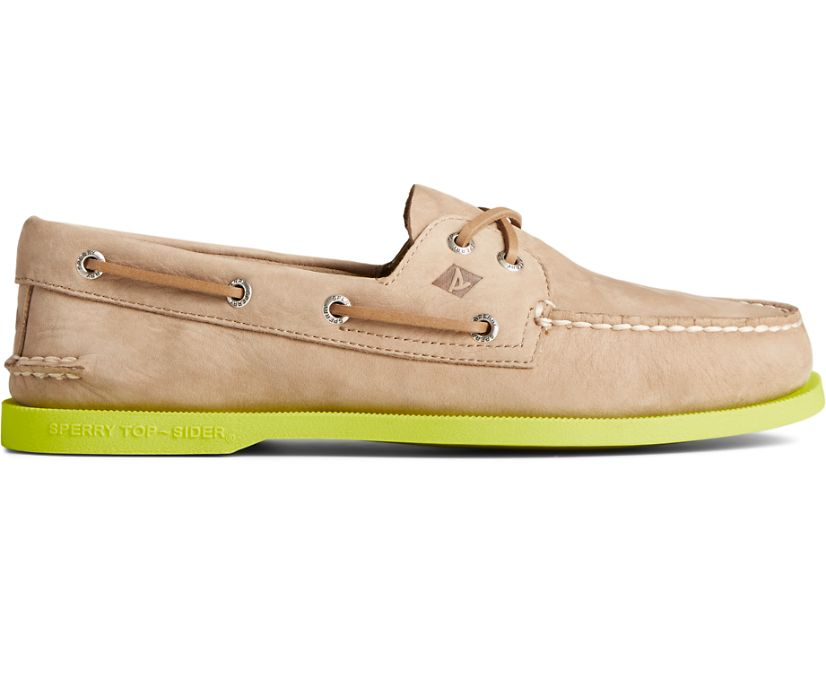 Authentic Original 2-Eye Color Sole Boat Shoe, Taupe/Yellow, dynamic