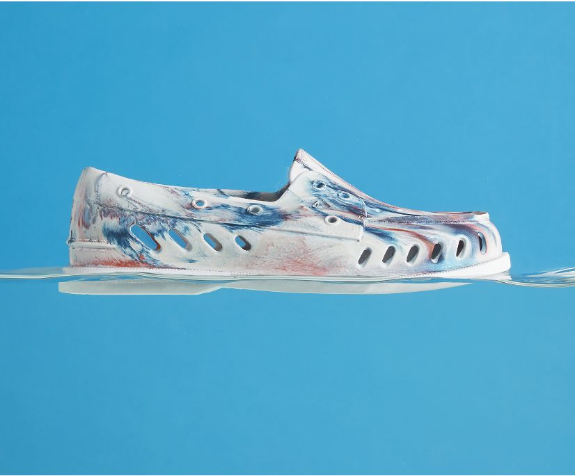 Authentic Original Float Marbled Boat Shoe, White/Red/Blue, dynamic