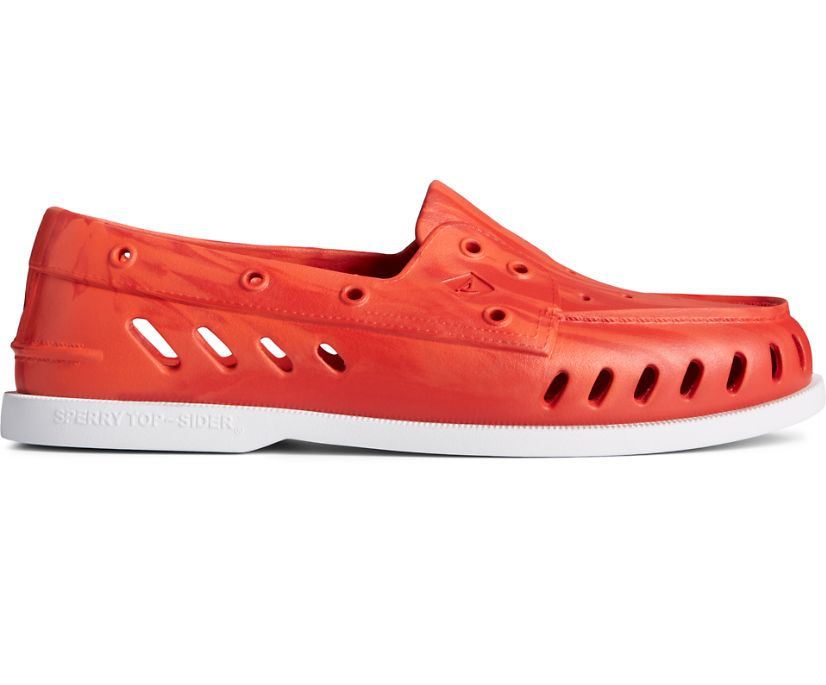 Authentic Original Float Marbled Boat Shoe, Rhubard/Red, dynamic
