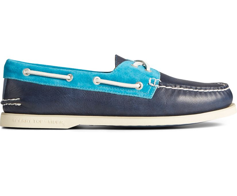 Gold Cup Authentic Original Nautical Boat Shoe, Navy Multi, dynamic