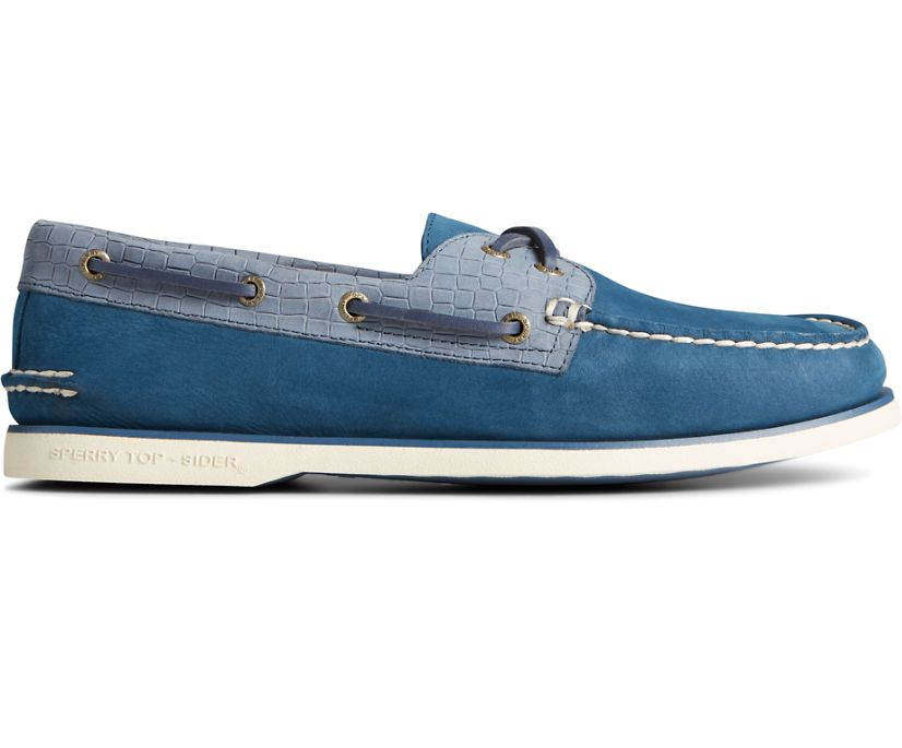 Gold Cup Authentic Original 2-Eye Croc Embossed Boat Shoe, Navy Multi, dynamic