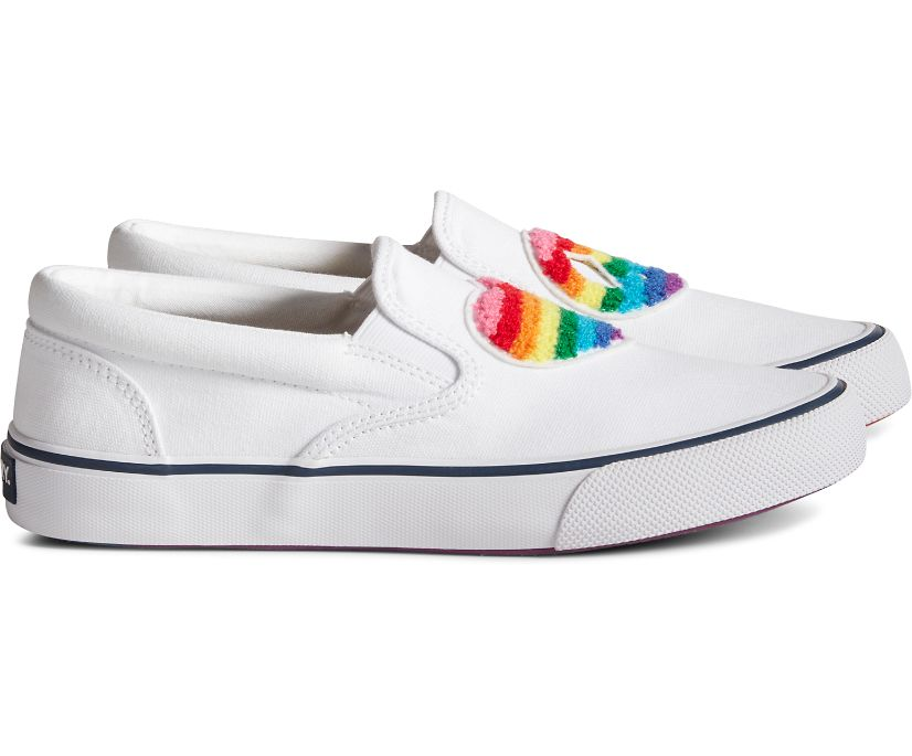 Unisex Striper Slip On Pride Sneaker, White Multi, dynamic