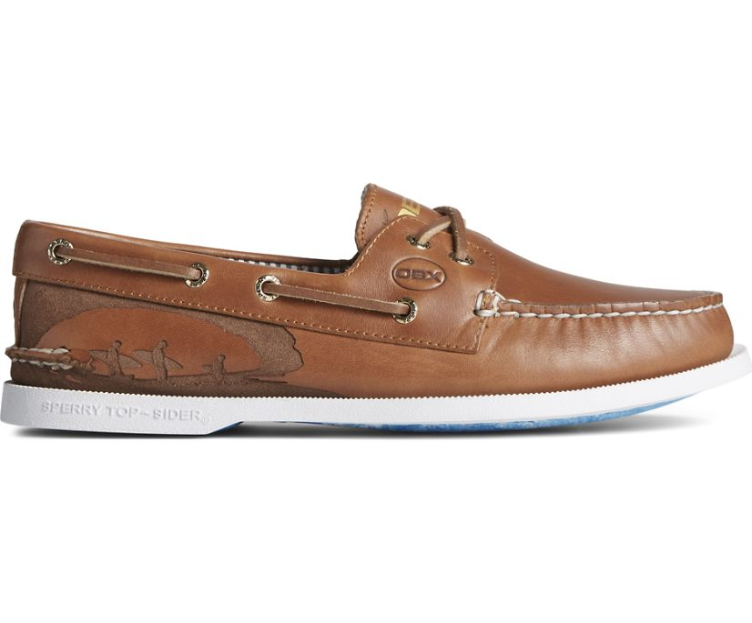 Sperry x OBX Authentic Original Cross Lace Boat Shoe, Tan, dynamic