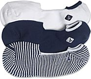 Boat Shoe 3-Pack Canoe Liner Sock, Navy / White Stripe, dynamic