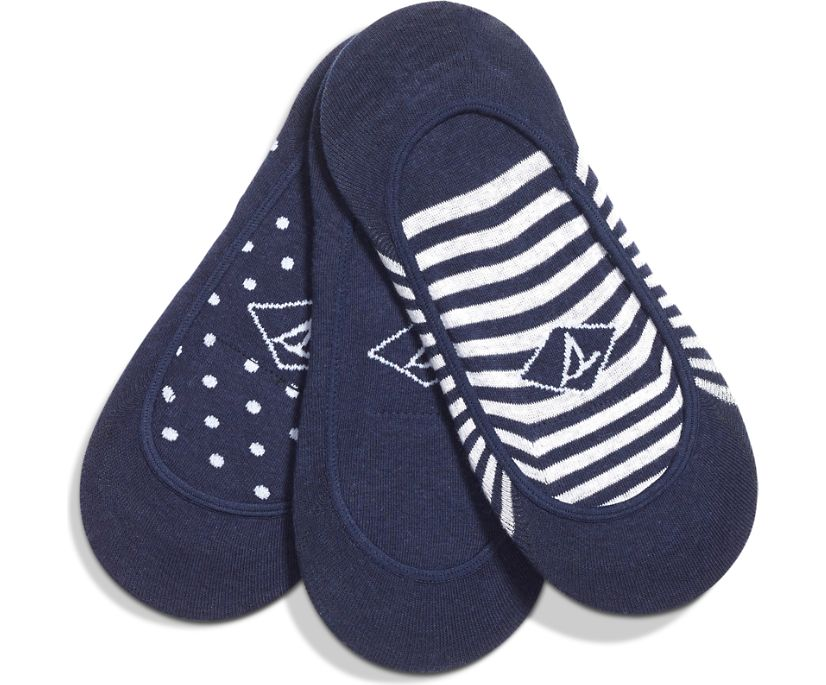 No Show 3-Pack Liner Sock, Navy, dynamic
