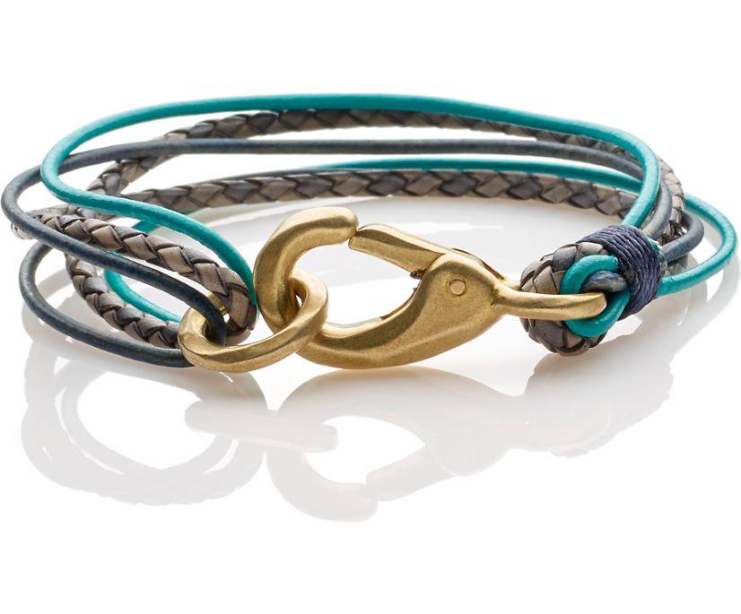 Multi Strand Leather Bracelet, Turquoise/Navy, dynamic