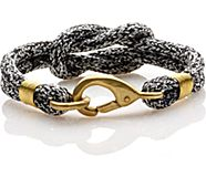 Rope Knot Hook Bracelet, Black/White, dynamic