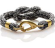 Rope Knot Hook Bracelet, Black/White, dynamic