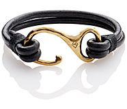 Leather Hook Bracelet, Black, dynamic