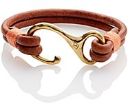 Leather Hook Bracelet, Tan, dynamic