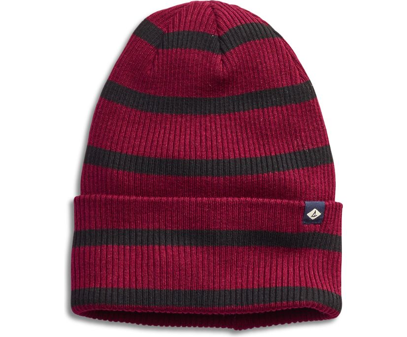 Rugby Stripe Slouch Beanie, Port/Black, dynamic