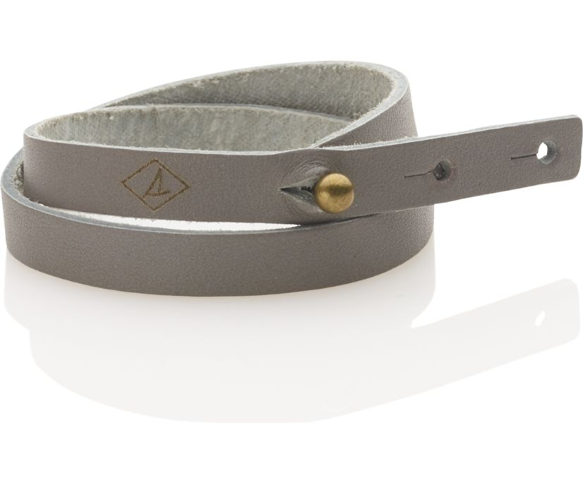 Double Wrap Leather Bracelet, Grey, dynamic