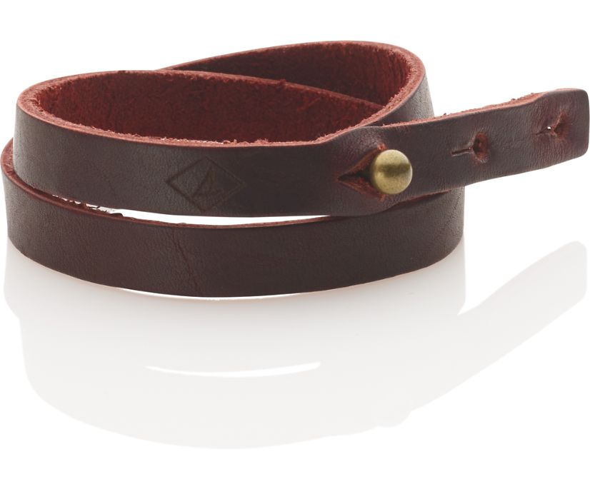 Double Wrap Leather Bracelet, Red, dynamic