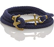 Brass Anchor Multi Wrap Bracelet, Navy, dynamic