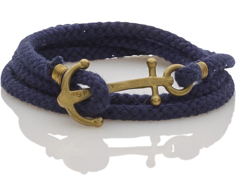 Brass Anchor Multi Wrap Bracelet, Navy, dynamic