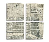 Sea Bags Savannah Vintage Map Coasters, Savannah, dynamic