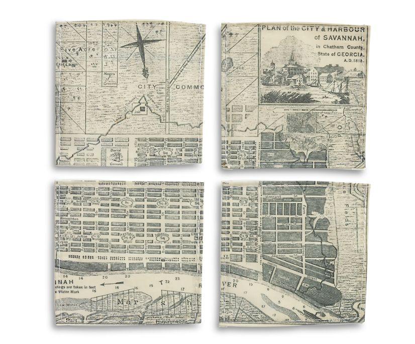 Sea Bags Savannah Vintage Map Coasters, Savannah, dynamic