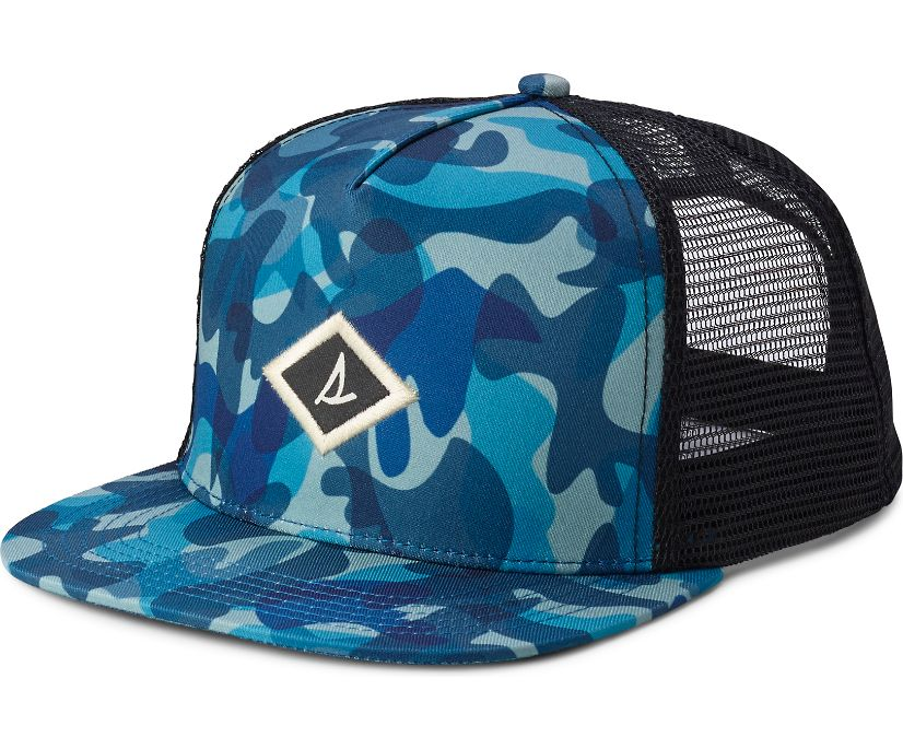 Camo Trucker Hat, Blue Multi, dynamic