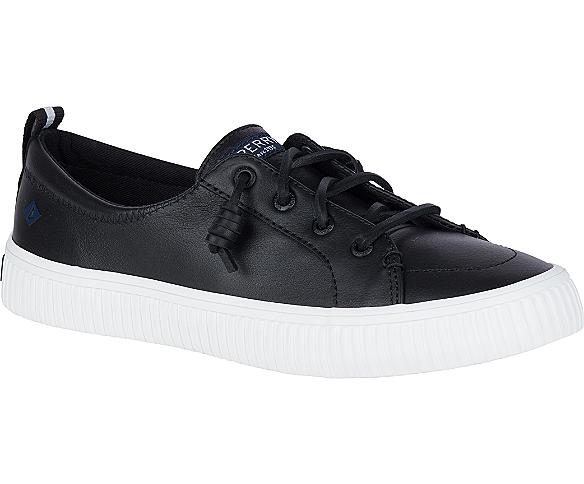 Crest Vibe Creeper Leather Sneaker, Black, dynamic