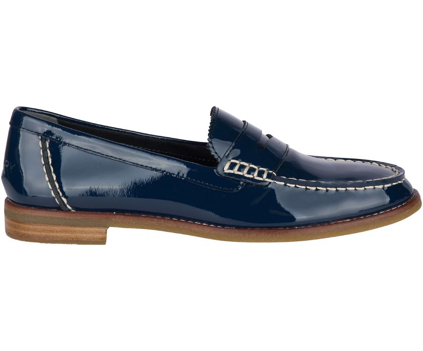 Seaport Patent Penny Loafer, Navy, dynamic