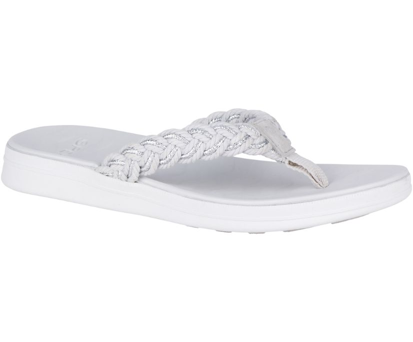Adriatic Braided Flip Flop, Grey/Silver, dynamic