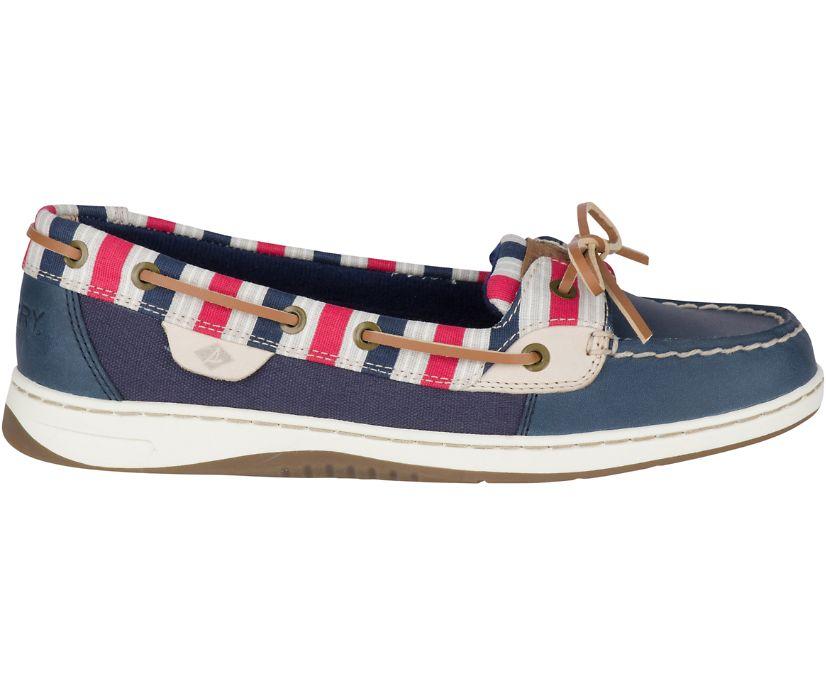 Angelfish Stripe Boat Shoe, Navy/Red, dynamic