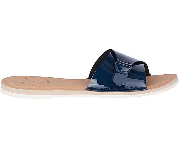 Seaport Patent Slide Sandal, Navy, dynamic