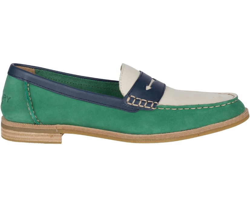 Seaport Tri Tone Penny Loafer, Green/Navy/White, dynamic