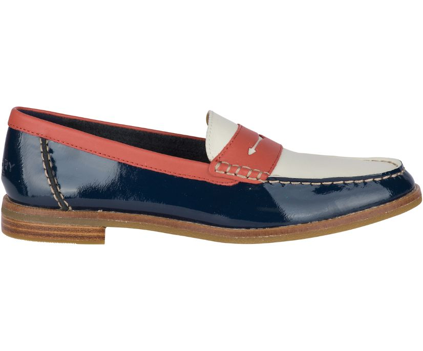 Seaport Tri Tone Penny Loafer, Red/Navy/White, dynamic