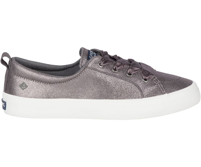 Crest Vibe Glitter Suede Sneaker, Pewter, dynamic