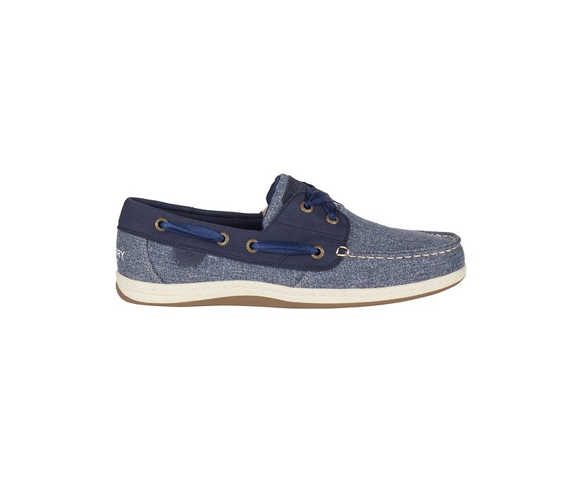 Koifish Sparkle Chambray Boat Shoe, Navy, dynamic