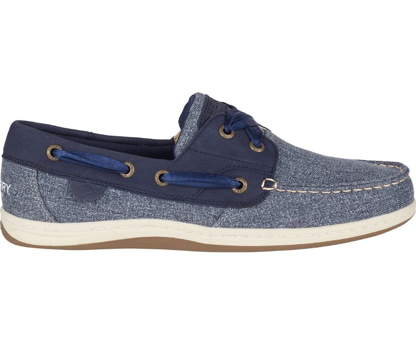 Koifish Sparkle Chambray Boat Shoe, Navy, dynamic