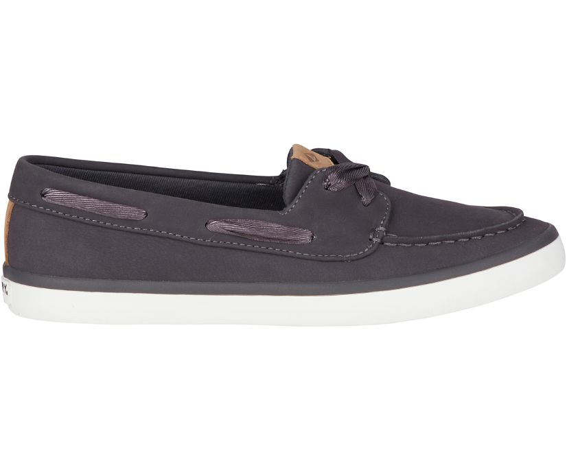 Sailor Boat Leather Sneaker, Charcoal, dynamic