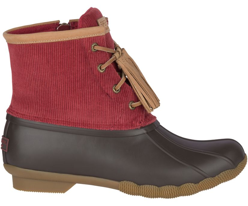 Saltwater Tassel Corduroy Duck Boot, Wine, dynamic