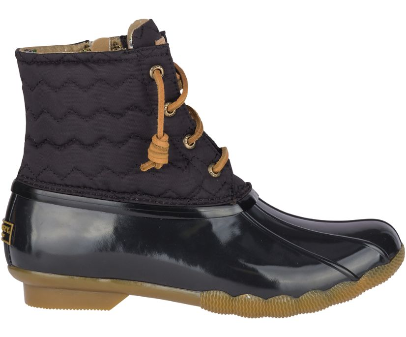 Saltwater Quilted Chevron Duck Boot, Black, dynamic