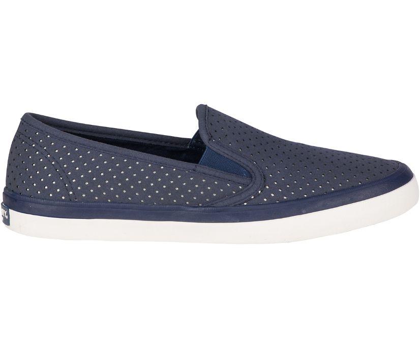 Seaside Perforated Varsity Sneaker, Navy, dynamic