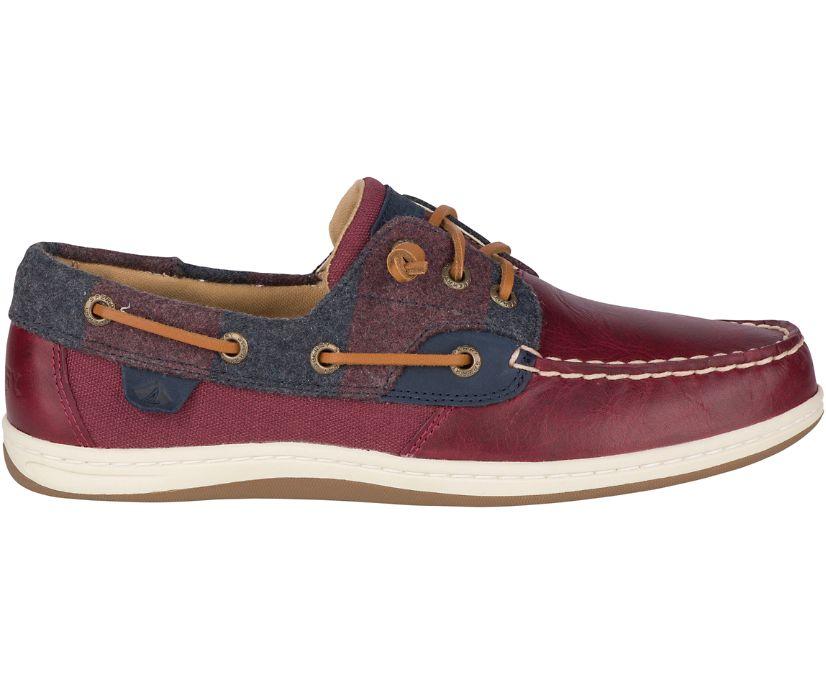 Songfish Varsity Wool Boat Shoe, Wine, dynamic