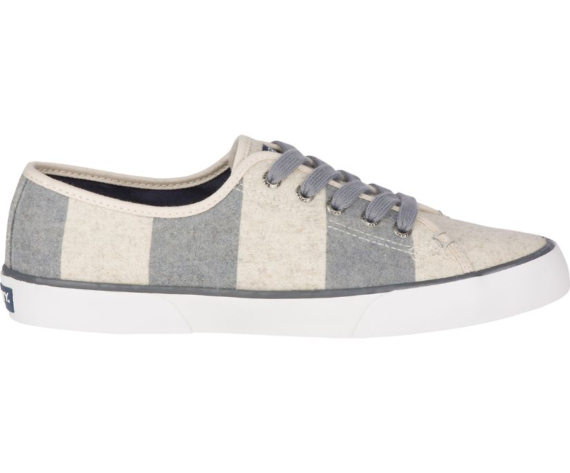 Pier View Striped Wool Sneaker, Grey/Oat, dynamic