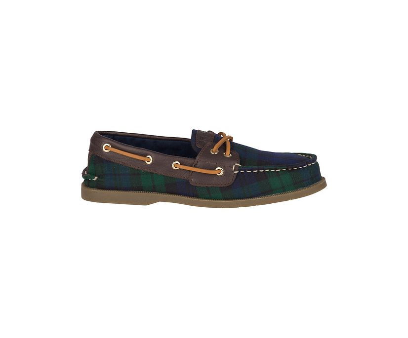 Conway Boat Blackwatch Plaid  Boat Shoe, Navy/Brown, dynamic